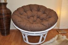Ratanový papasan 115 cm bílý - polstr hnědý melír