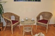 Ratanová sedací souprava Fabion banánový list  polstry vínové