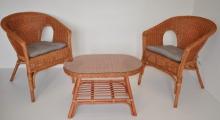 Ratanová sedací souprava Fabion koňak oválný stolek