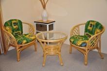 Ratanová sedací souprava Bahama malá medová zelené polstry