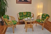 Ratanová sedací souprava Bahama medová velká polstry zelené