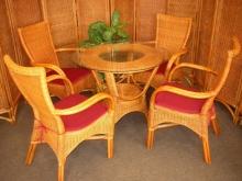 Ratanová sedací souprava Wanuta Cognac polstry vínové